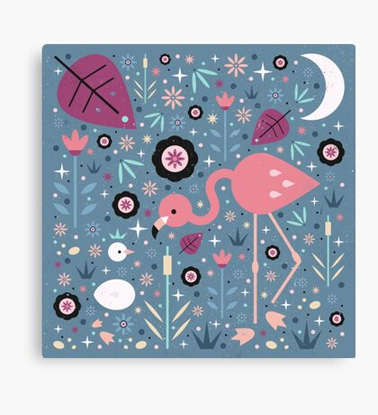 Flamingo & Chick  Canvas Print