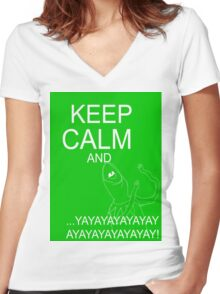 Keep Calm and Kermie On Women's Fitted V-Neck T-Shirt
