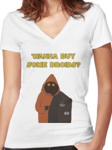 Wanna buy some droids? Women's Fitted V-Neck T-Shirt