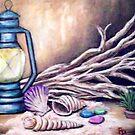 Driftwood and Lantern Still Life by Pamela Plante