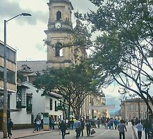 Cathedral at Historic Center of Bogota Colombia by DFLC Prints