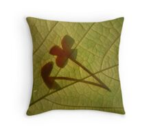 Flowers Caught on a Leaf Throw Pillow