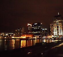 Auckland Harbour by Night by chrissy mitchell