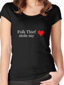 Folk Thief stole my heart - white lettering & red heart Women's Fitted Scoop T-Shirt