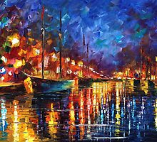 Copenhagen harbor - original oil painting on canvas by Leonid Afremov by Leonid  Afremov