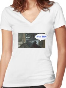 Its a trap call of duty claymore design Women's Fitted V-Neck T-Shirt