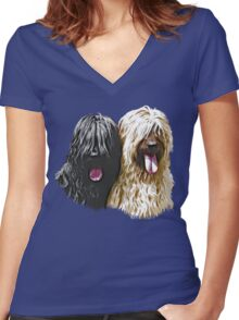 Black & Fawn Briards Women's Fitted V-Neck T-Shirt