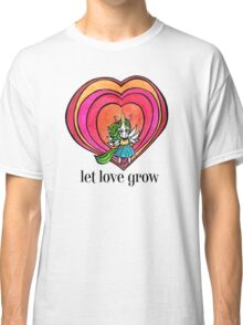 Let Love Grow: Cute Unicorn Drawing Watercolor Illustration Classic T-Shirt