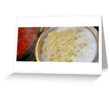 On the stove top...pasta and sauce to go. Greeting Card