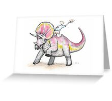 Yippie Ki-yay Triceratops Greeting Card