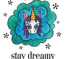 Stay Dreamy: Cute Unicorn Drawing Watercolor Illustration  by mellierosetest