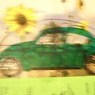 Green VW Beetle & Sun Flowers by Della  Badart