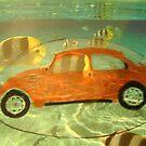 Orange VW Beetle & Sun Fish by Della  Badart