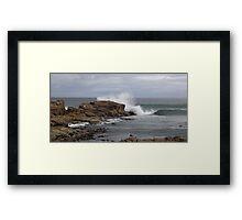 rock fishing  - splash!!! Framed Print