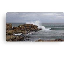 rock fishing  - splash!!! Canvas Print