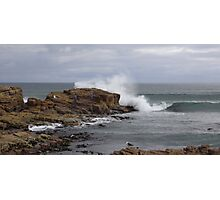rock fishing  - splash!!! Photographic Print