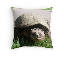 Huge Snapping Turtle Laying Eggs Throw Pillow