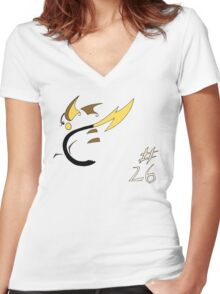 Pokemon 26 Raichu Women's Fitted V-Neck T-Shirt