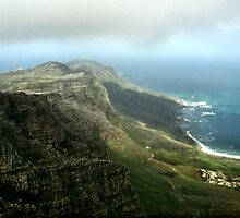 Looking towards Cape Point  from Table Mountain, South Africa  by Carole-Anne