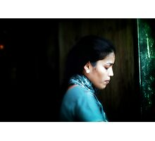 girl in soft blue Photographic Print