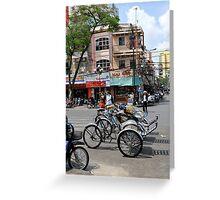 Cyclos (bicycle rickshaws), Ho Chi Minh City, Vietnam Greeting Card