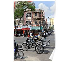 Cyclos (bicycle rickshaws), Ho Chi Minh City, Vietnam Poster