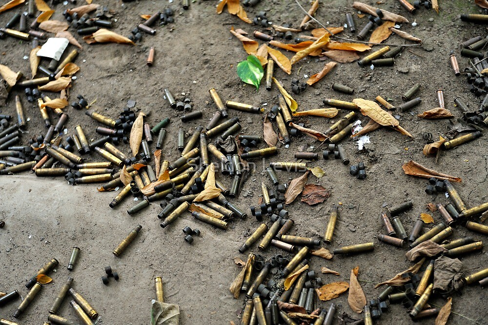 Spent cartridge shells on ground in Vietnam by Sheldon Levis