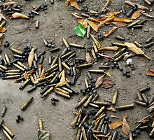 Spent cartridge shells on ground in Vietnam by Sheldon Levis