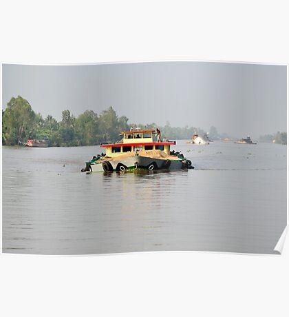 Heavily overloaded boat on Mekong River, Vietnam Poster