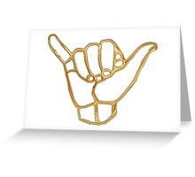 Gold shaka hand Hawaii Greeting Card