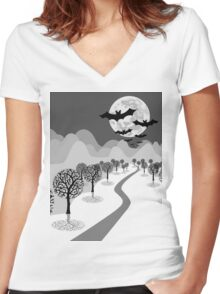 Happy Haunting Women's Fitted V-Neck T-Shirt