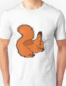 Brown squirrel eating nut. Cartoon image Unisex T-Shirt