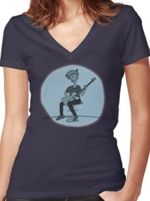 The Guitar Player Women's Fitted V-Neck T-Shirt