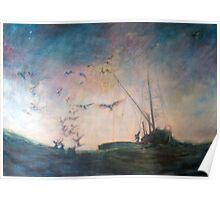Homebound fishing boat Poster