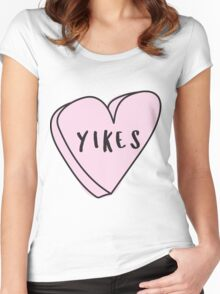 YIKES Sassy Conversation Heart ♥ Trendy/Hipster/Tumblr Meme Women's Fitted Scoop T-Shirt