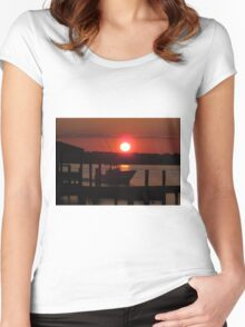 Boating At Sunset Women's Fitted Scoop T-Shirt