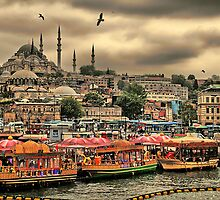 Turkey. Istanbul. Eminönü district. View from Galata bridge. by vadim19