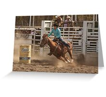 Rodeo Cowgirl Competes in Barrel Racing Event Greeting Card