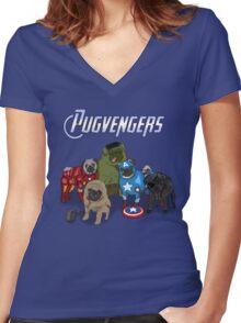 The Pugvengers Women's Fitted V-Neck T-Shirt