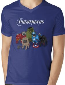 The Pugvengers Mens V-Neck T-Shirt