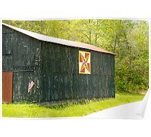 Kentucky Barn Quilt - July Summer Sky Poster