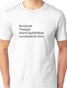 U2: Band Member Names Unisex T-Shirt