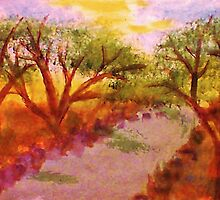 Enjoying summer by the water and trees, watercolor by Anna  Lewis