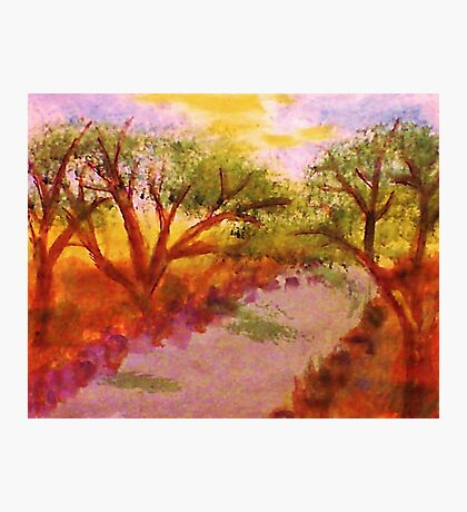 Enjoying summer by the water and trees, watercolor Photographic Print