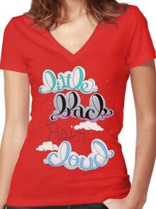Little Black Rain Cloud Women's Fitted V-Neck T-Shirt