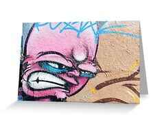 Angry Face Graffiti on a textured Wall Greeting Card