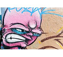 Angry Face Graffiti on a textured Wall Photographic Print
