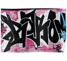 Abstract Graffiti Ornament on the Brick Wall Poster