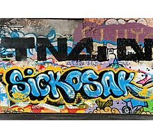 Abstract Graffiti on the grunge textured Brick Wall Photographic Print