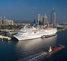 Mobile Skyline & Cruise Ship by Tad Denson